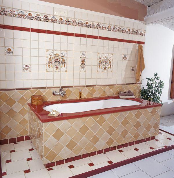 Carrelage pav 23 x 23 emaill salle de bains fa ence for Motif faience salle de bain